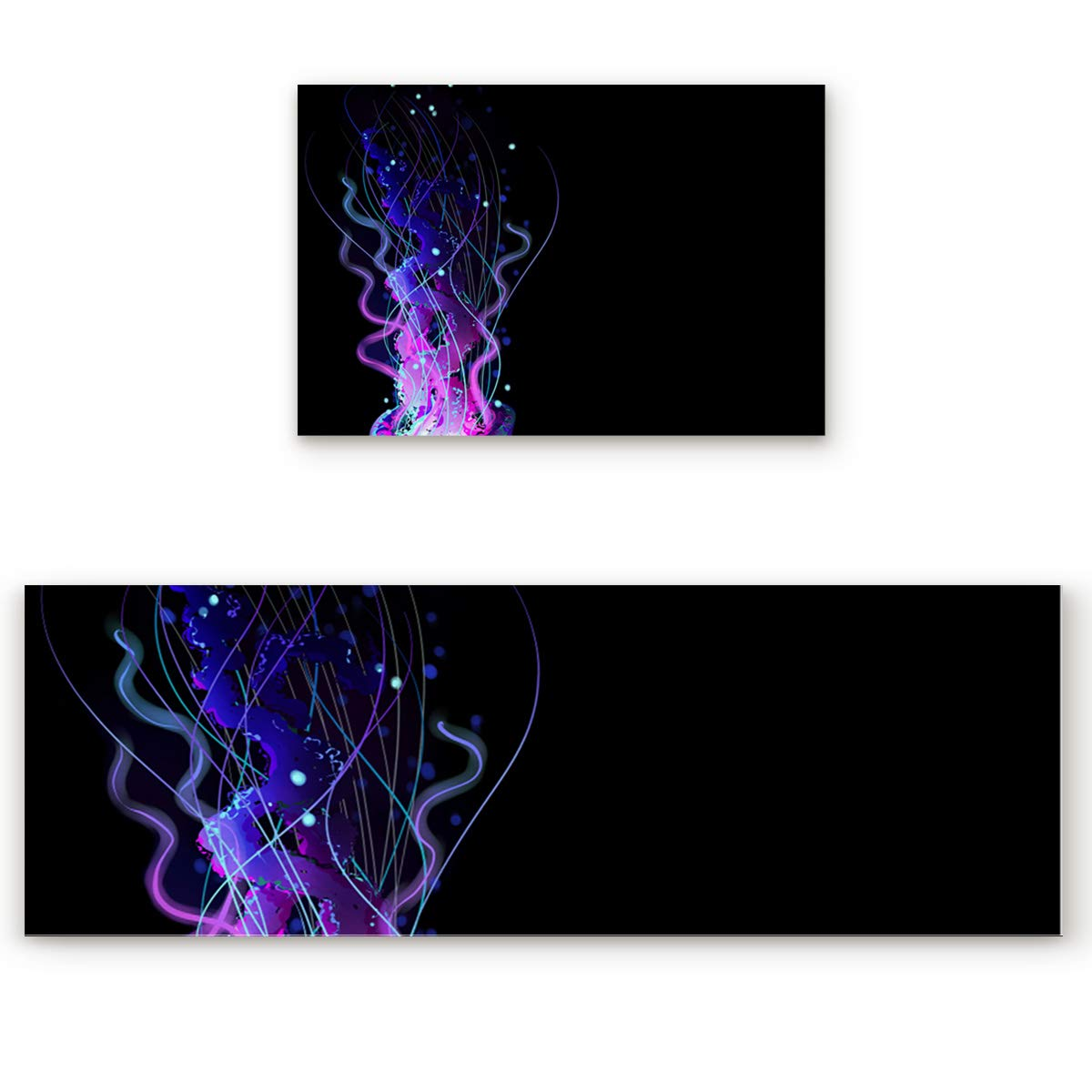 Jellyfish4san3196 19.7 x31.5 +19.7 x47.2  Savannan 2 Piece Non-Slip Kitchen Bathroom Entrance Mat Absorbent Durable Floor Doormat Runner Rug Set - Tropical Plants