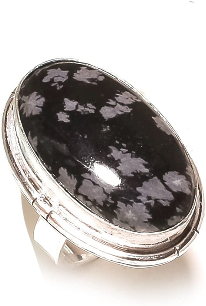 Sizable Best Jewelry Black Onyx Opalite 925 Sterling Silver Plated 5 Grams Ring Size 9 US