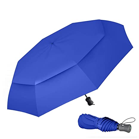 dfd371d82030 Procella Windproof Travel Umbrella - Small Collapsible and Lightweight -  Large Cover when Open - Best for Kids Mens Womens (Double Canopy, Royal  Blue)