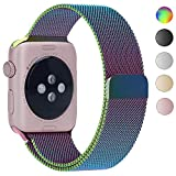 Smart Watch Band, YMCCOOL Fully Magnetic Closure Clasp Mesh Loop Stainless Steel iWatch Band Replacement Bracelet Strap for Apple Watch 42mm Rainbow