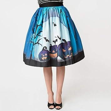 HEHEAB Falda,Señoras Azul Faldas De Cintura Alta Elegante Swing ...