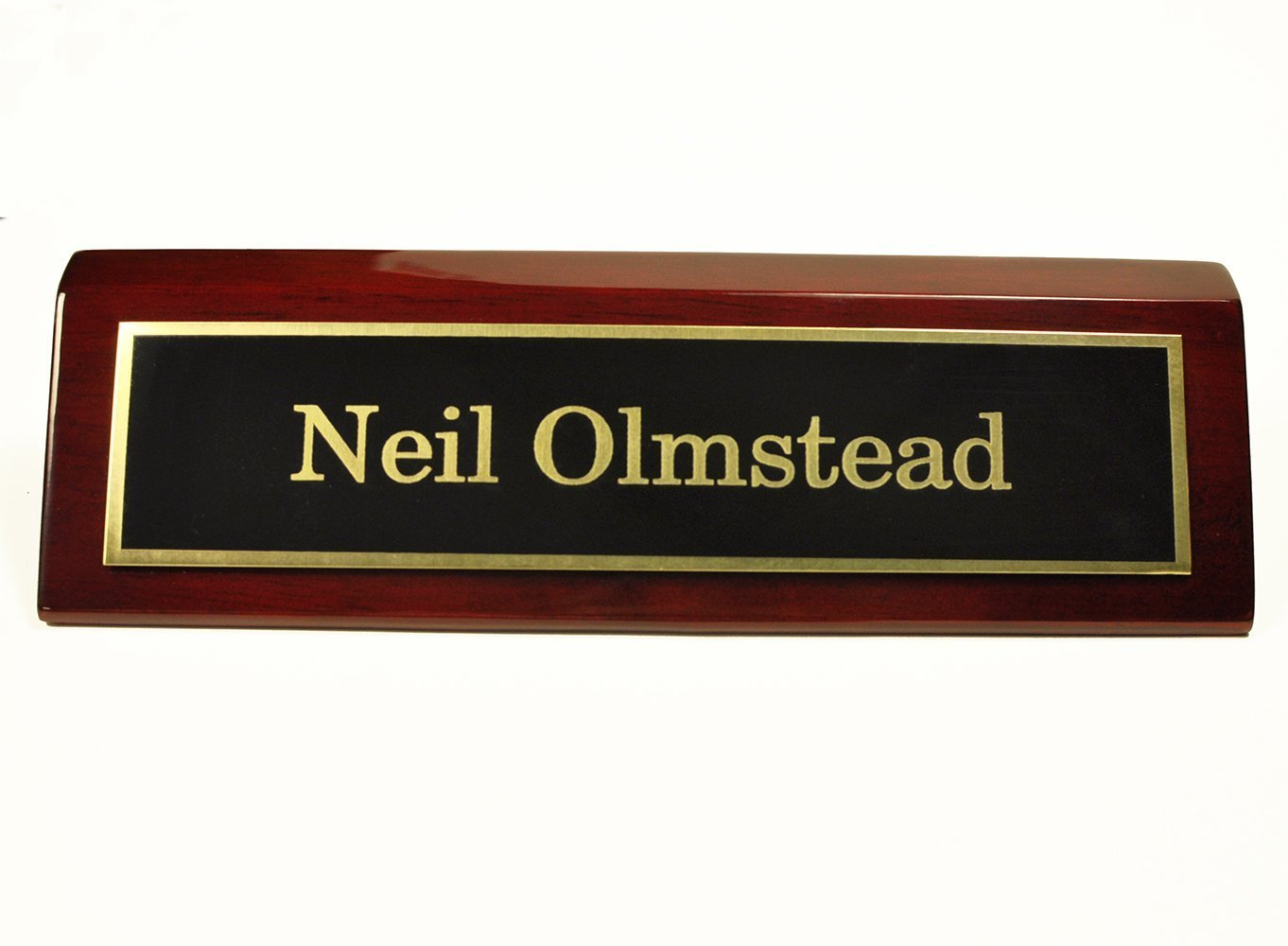 Rosewood Piano Finish Desk Name Plate 2 X 8 - Black Plate, Gold Engraving - Free Engraving by Griffco Supply