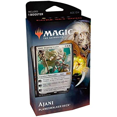 Magic The Gathering: MTG: Core Set 2020 Planeswalker Deck - Ajani w/Booster Pack (White): Toys & Games
