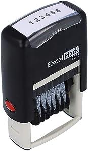 ExcelMark Self-Inking Rubber Number Stamp, Black Numbering Stamp, 6 Digit