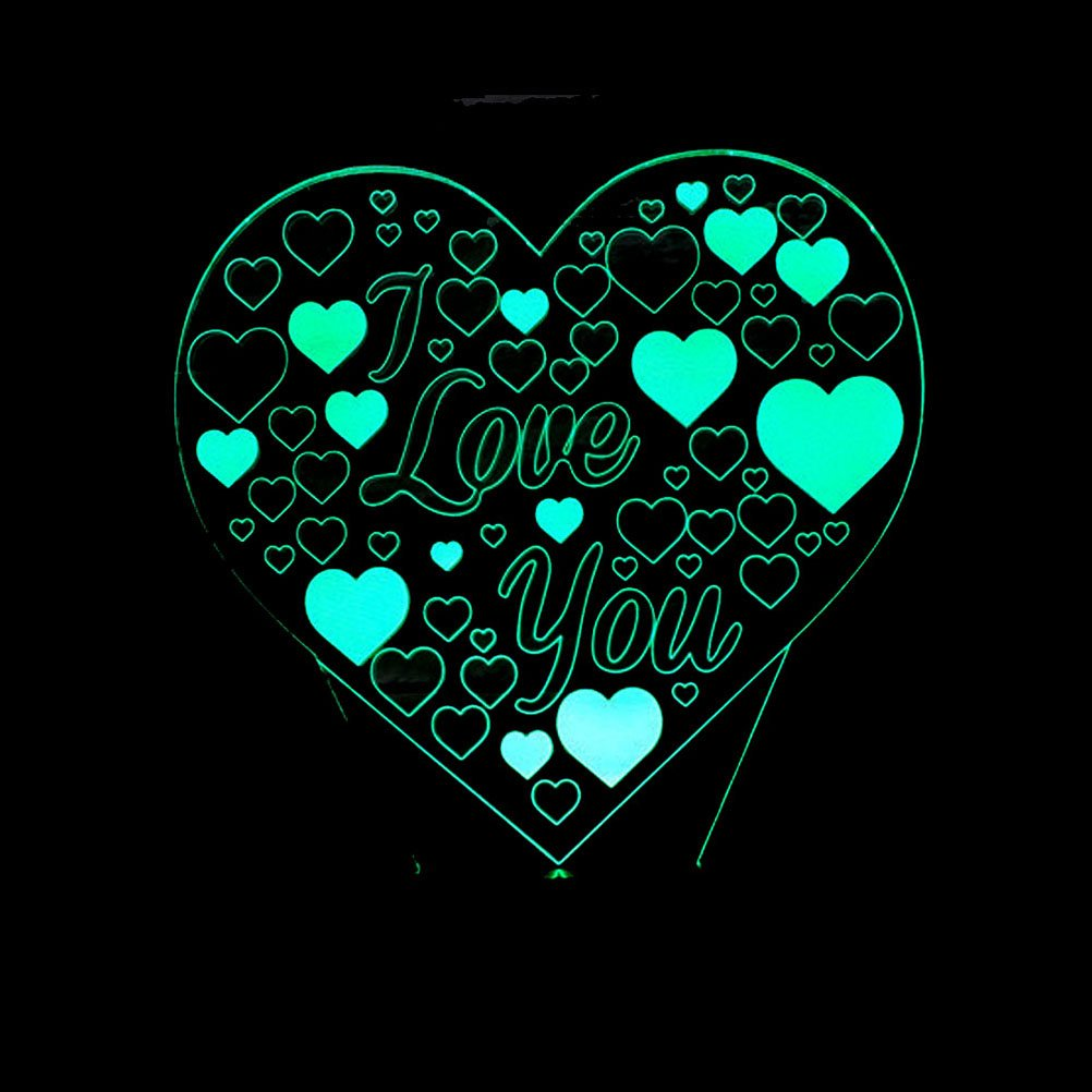 Io ti amo ledmomo 3d cuore forme luci notturne 7/colori LED lampada Touch USB lampada da tavolo con telecomando per coppia romantica notte san valentino amante regalo