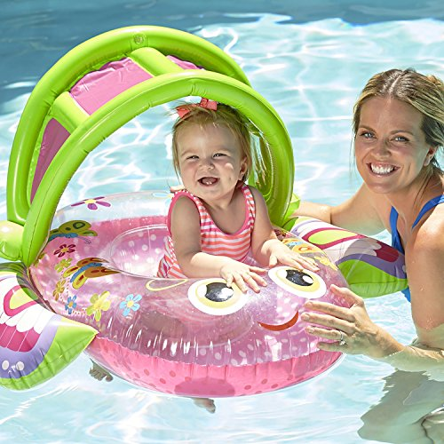 SwimSchool Bouncing Butterfly Baby Pool Float, Baby Boat with Adjustable/Retractable Canopy, UPF 50, Extra-Wide Inflatable Pool Float, 6 to 18 Months, Pink