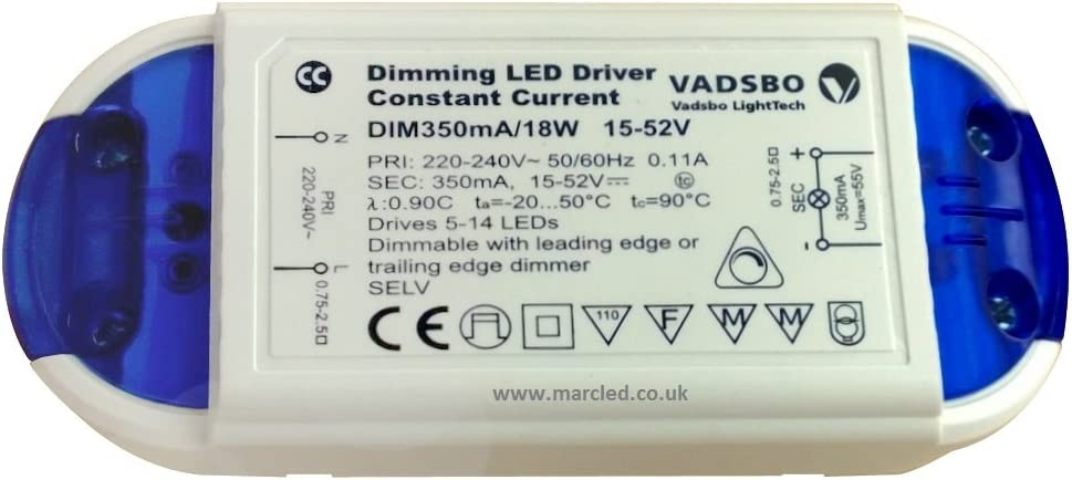 Vadsbo 5-18W Dimmable DRIVER DE LED COURANT CONSTANT 350MA 15-52V