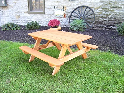 A&L Furniture 4' Amish-Made Pressure-Treated Pine Kids Picnic Table, Cedar - Picnic Table Treated Pressure