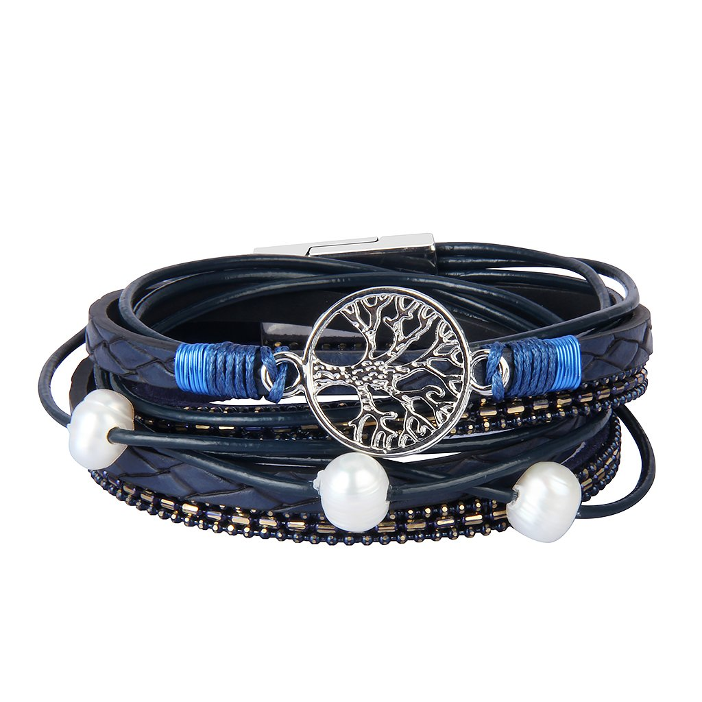 JOYMIAO Blue Genuine Leather Bracelet Tree of Life for Women Handmade Jewelry Braid Rope Cuff Bangle with Magnet Buckle