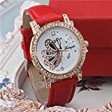 Buildent£¨TM)New fashion lady's quartz watches leather band Crystal decoration case with gold plated women wrist watches