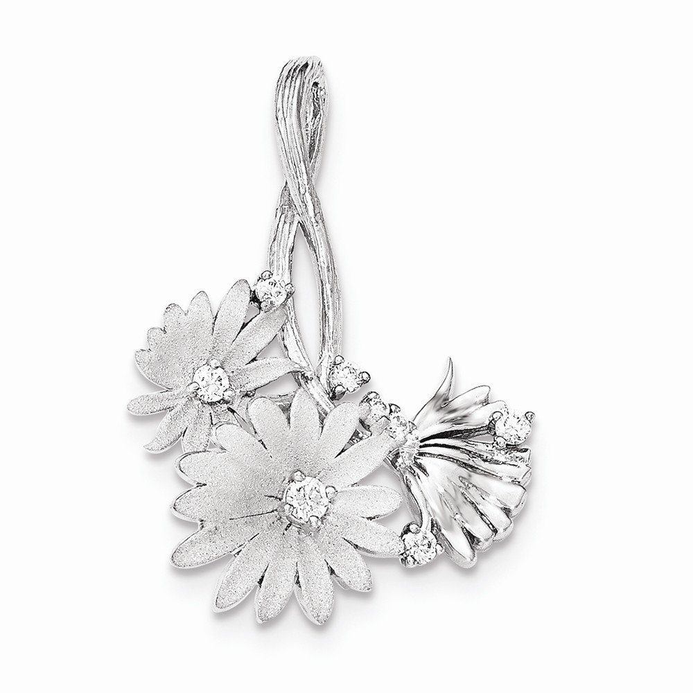 Sterling Silver Polished Satin CZ Flowers Slide Pendants /& Charms Jewelry
