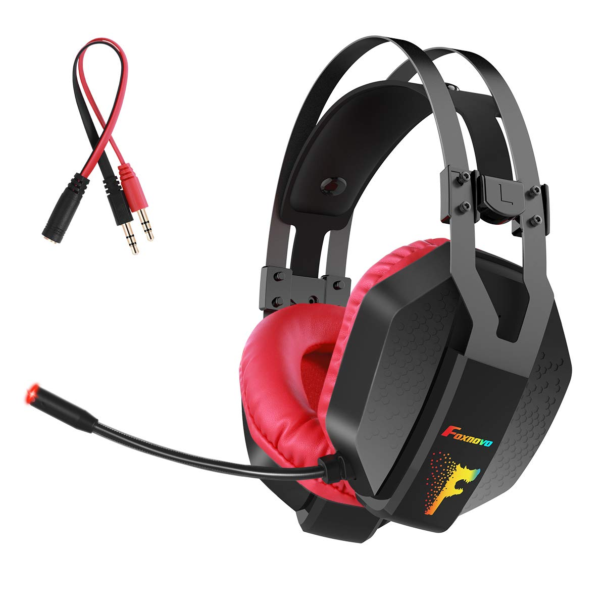Gaming Headset for PS4, Xbox One, PC, Nintendo Switch, Foxnovo Over Ear Headphones Noise Cancelling with Microphone, RGB Led, Bass Surround Sound, Volume Control, Soft Padding Memory Earmuffs by Foxnovo