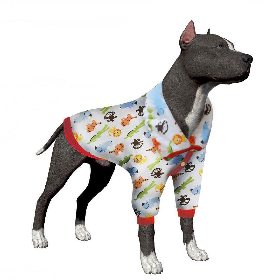 LovinPet Dog Clothes for Large Dogs Post Surgery Wear Dog Shirt Dog Pajamas Safari Park For Pitbull, Labrador Retriever, German shepherd, Golden Retriever, Bulldog (Please Read Description)