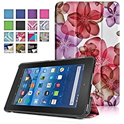 TNP New Fire 7 Case (Floral Pink) - Ultra Slim Lightweight Folding Folio Cover Stand with Hard Rubberized Back for Amazon New Fire 7 Inch (5th Generation) 2015 Release Tablet