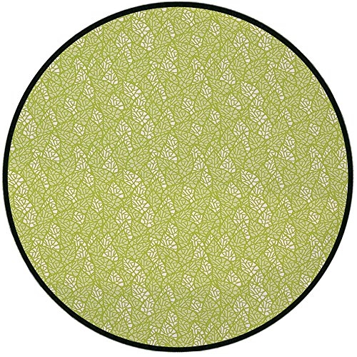 (Printing Round Rug,Green,Abstract Stylized Leaves Fresh Nature Eco Growth Foliage Theme Healthy Organic Mat Non-Slip Soft Entrance Mat Door Floor Rug Area Rug For Chair Living Room,Apple Green White)