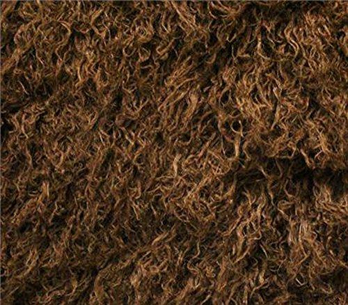 Faux Fake Animal Solid Fur Fabric Long Pile Curly Alpaca Brown / 60