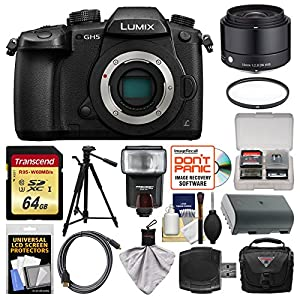 Panasonic Lumix DC-GH5 Wi-Fi 4K Digital Camera Body with 19mm f/2.8 Lens + 64GB Card + Case + Flash + Battery + Tripod + Kit