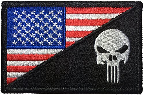 American USA Flag / Skull Sew on Iron on Embroidered Applique Patch - Red White Blue (IRON-USAF-HALF-PUNI-0RWB)