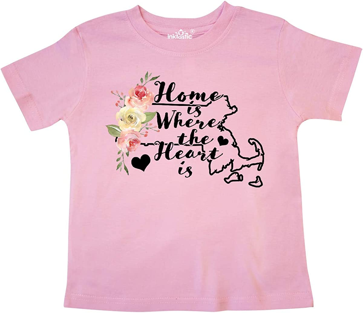 inktastic Massachusetts Home is Where The Heart is with Toddler T-Shirt