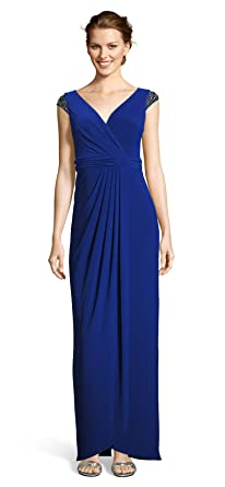 1664991d2e8 Adrianna Papell Women's Petite Wrap Front Jersey Gown with Bead Detail at  The Shoulder at Amazon Women's Clothing store: