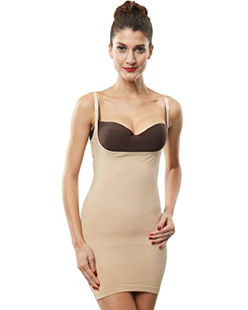 21da6cef63d05 Amazon.com  Franato Womens Control Slip Shapewear Dress Full Body Shaper  Open Bust Black L  Arts