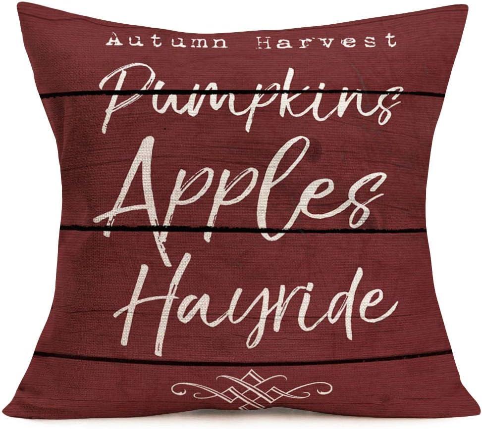 Fukeen Vintage Wood Words Throw Pillow Cover Cotton Linen Autumn Harvest Pumpkins Apples Hayride Seasonal Quote Letters Pillow Case Rustic Farmhouse Cotton Linen Cushion Cover for Sofa Couch