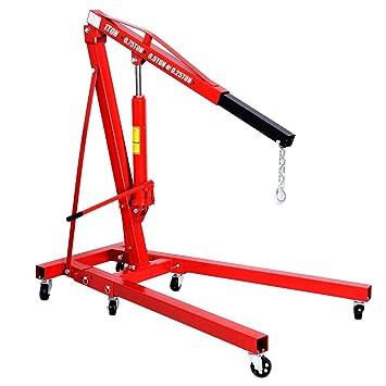 costway 1 Ton grúa plegable para motor hidráulico de elevación lift Jack soporte rojo w/ruedas: Amazon.es: Coche y moto