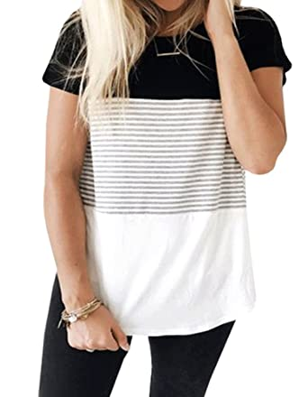 e92c14a2cc8 Women s Summer Short Sleeve Striped Blouse Junior Casual Tunic Tops T-Shirt  at Amazon Women s Clothing store