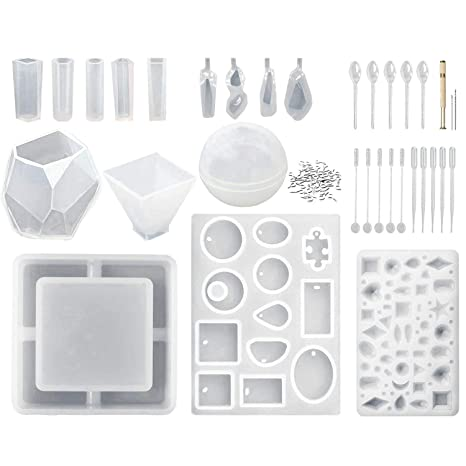 4 Pcs DIY Tool Irregular Epoxy Resin Mould Necklace Earring Pendant Jewelry Silicone Mold Jewelry Making DIY Mould 4 Pcs