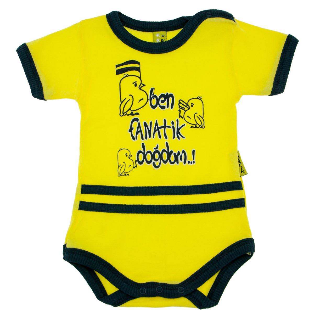 Neco Moden FenerbahceTaraftar Baby Bebek Body Badi Fanatik Sari kanarya Cim Bom Kara Kartal Galatasaray Fenerbahce (9-12 Monate)