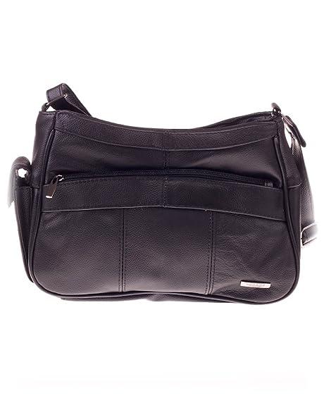 32e77c0e6910 Womens Leather Handbag   Shoulder Bag with Side Mobile Pocket ( Black )