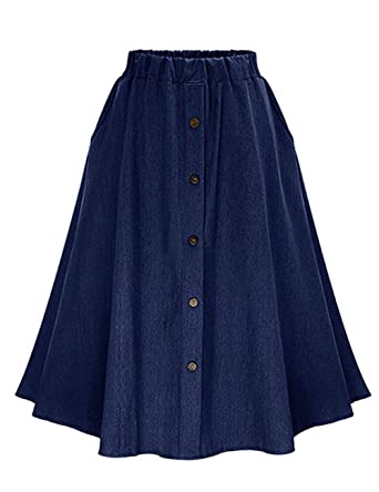 Leadingstar Women's Retro Vintage Button Up Pleated Denim Party ...