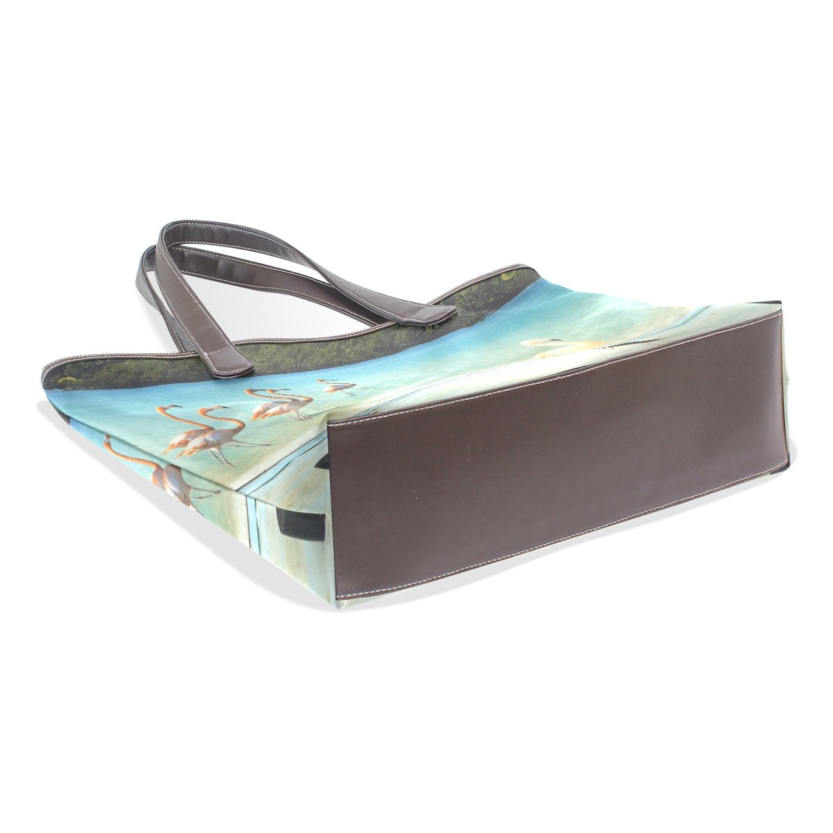 SCDS Flamingos PU Leather Lady Handbag Tote Bag Zipper Shoulder Bag