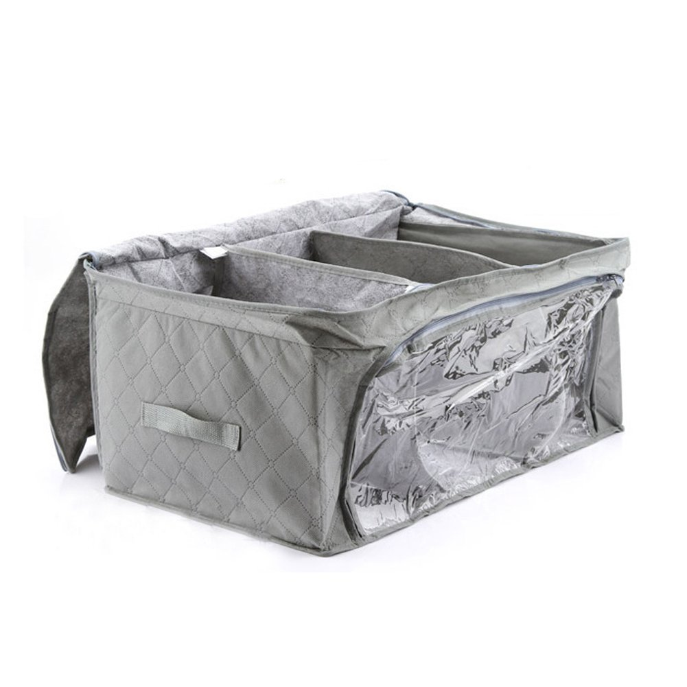 Tubwair Storage Box,Non-Woven Fabric on The Side of Double Storage Box with Zip Fastening Economic Bamboo Storage Bags for Blankets with Clear Windows