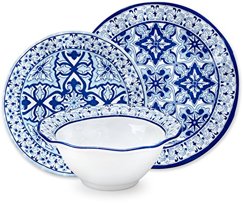 Q Squared Talavera In Azul 12-Piece Melamine Dinnerware Set, Light Blue, Blue and White