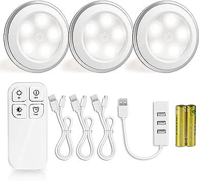 luz nocturna con detector de movimiento morpilot 3 5 ledes Puck Luz USB recargable para escaleras, Salón, Dormitorio, Cocina, sótano y piso: Amazon.es: Bricolaje y herramientas