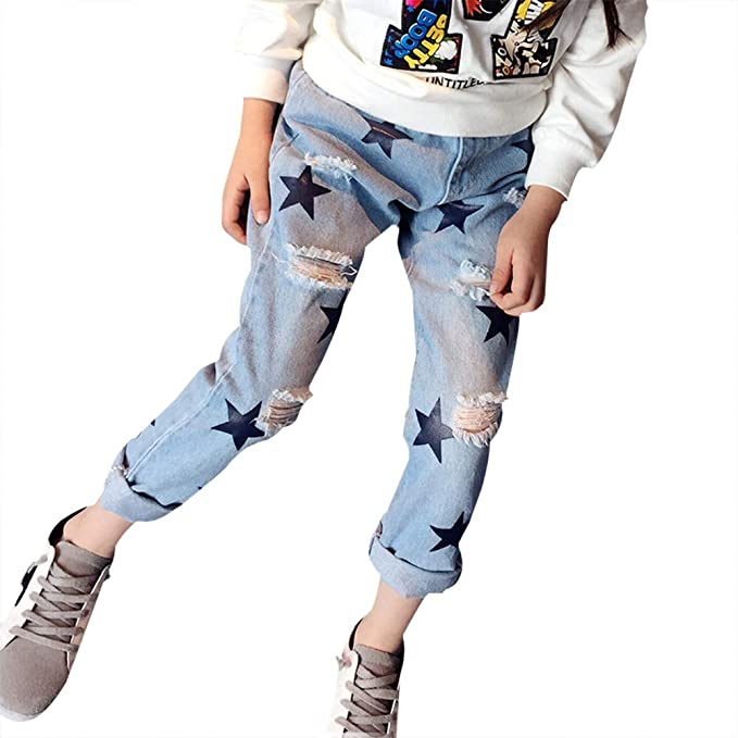 Amazon.com: Yonger Sweet Girl Jeans Fashion Light Blue ...