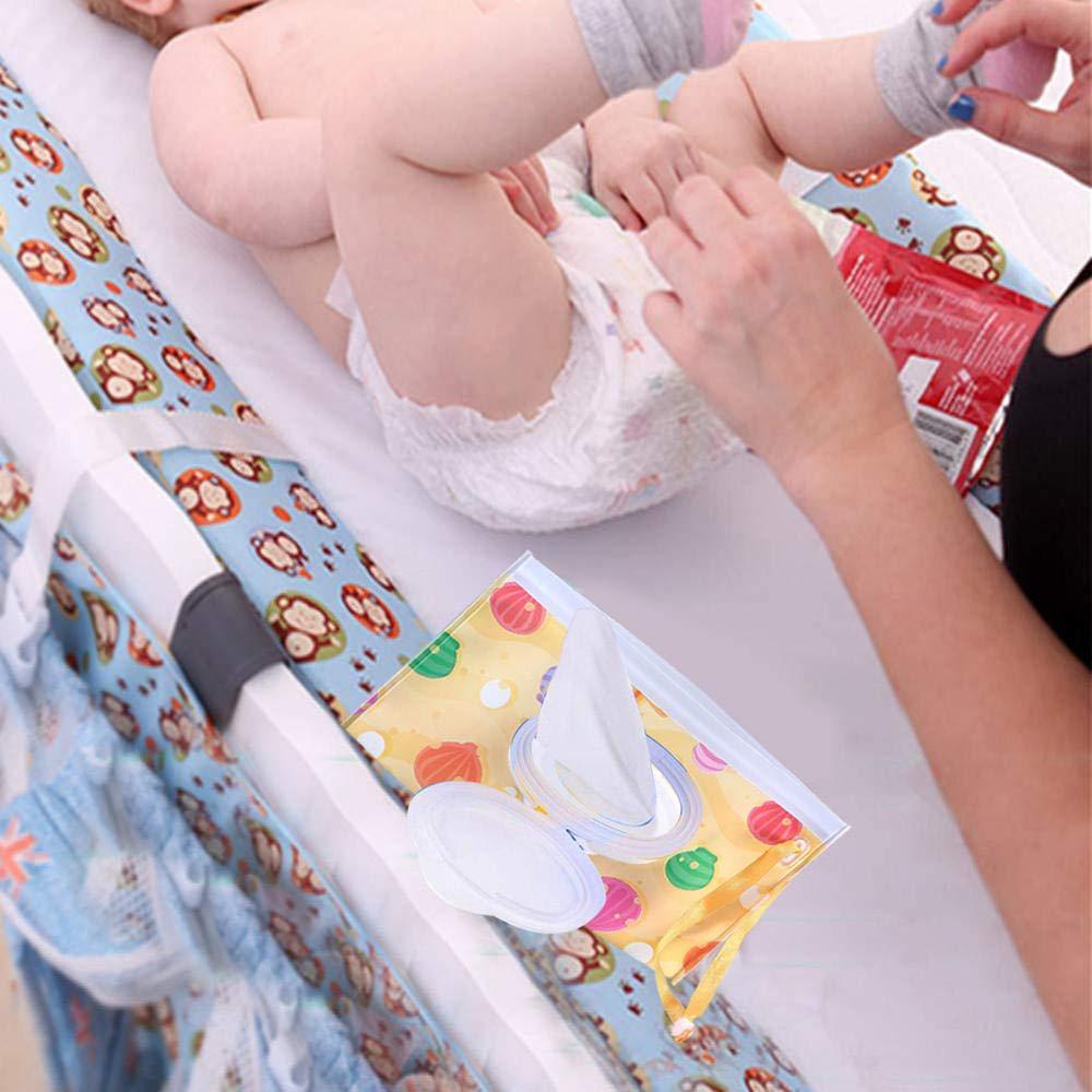 MOGOI Confezione da 3 Pochette per salviettine umidificate riutilizzabili per Pannolini e salviette umidificate
