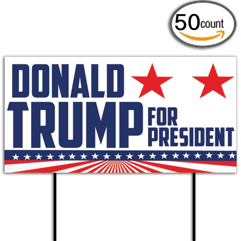 Donald Trump for President 12''x24'' Corrugated Plastic Sign, Set of 50 (with 100 short stakes, 2 stakes per sign)