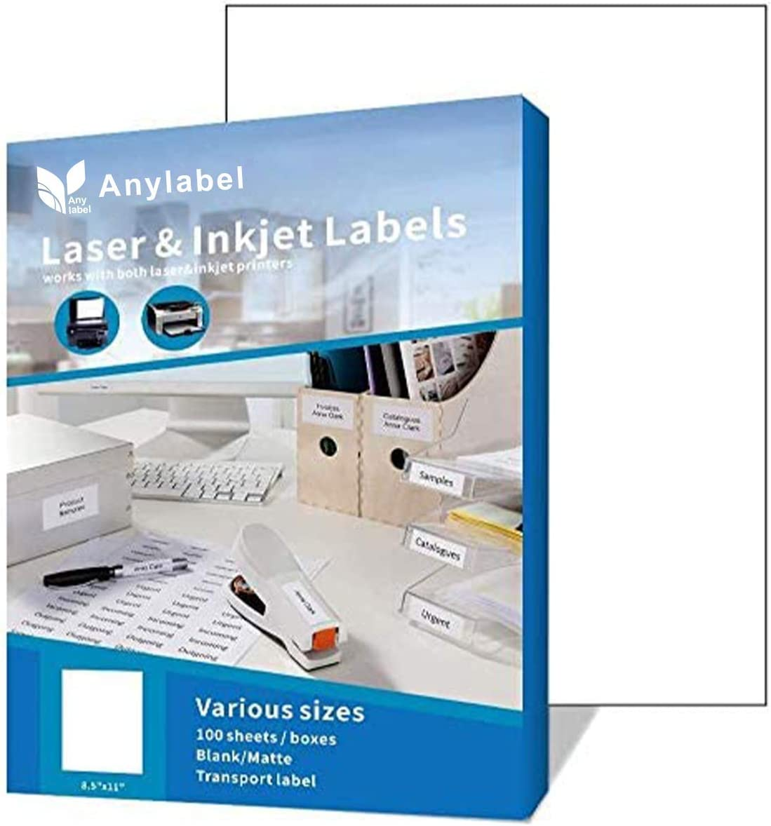 Anylabel Full Sheet Easy Peel Shipping Address Labels for Laser/Ink Jet Printer Permanent Adhesive (100 Sheets, 100 Labels)