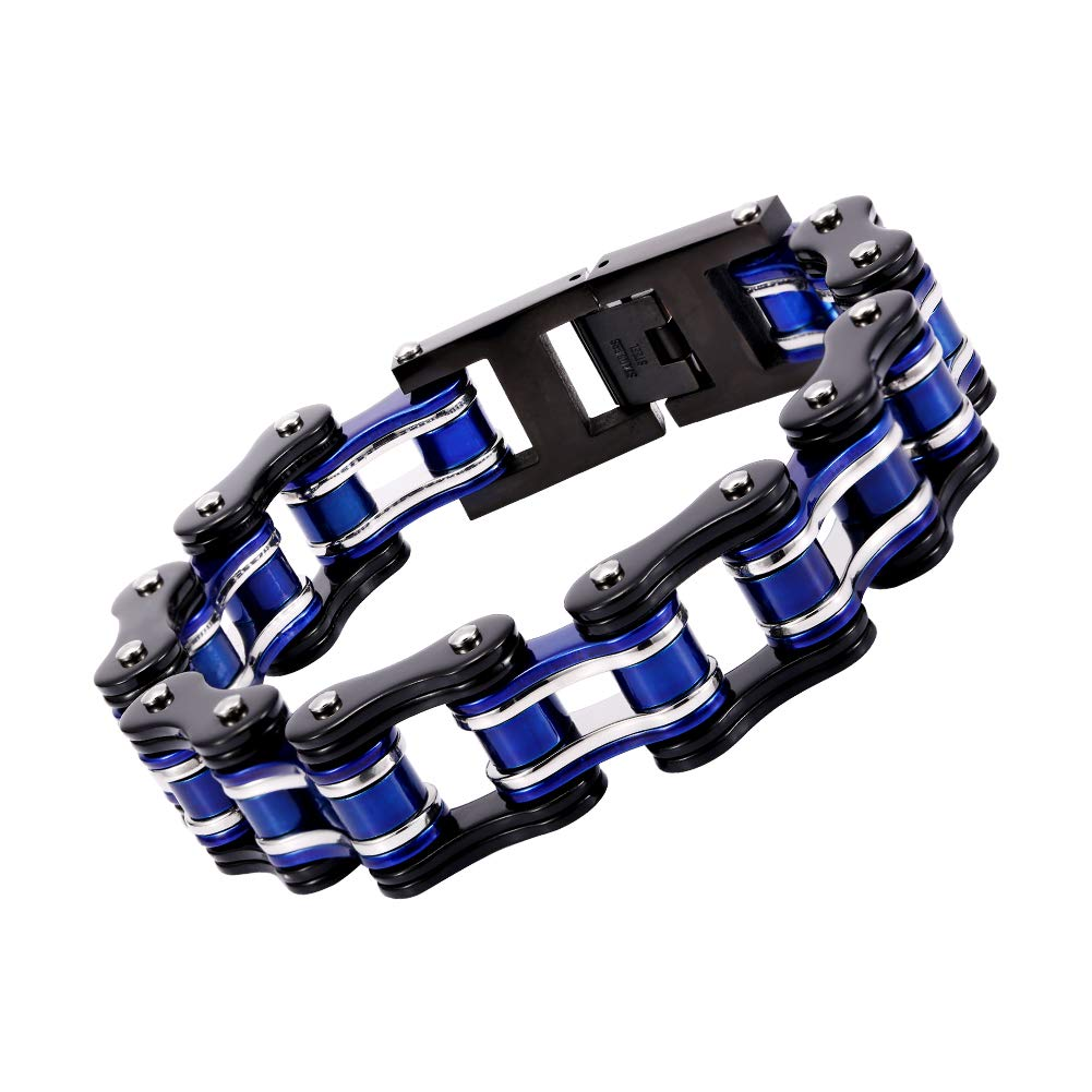 AICHIC Link Chain Bracelet for Men Women, Fashion Stainless Steel Bracelet Jewelry Imitating Car Chain Blue and Black