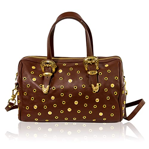 b25f6cba883 LCM by Valentino Orlandi Italian Designer Brown Leather WESTERN Boston Purse  Bag