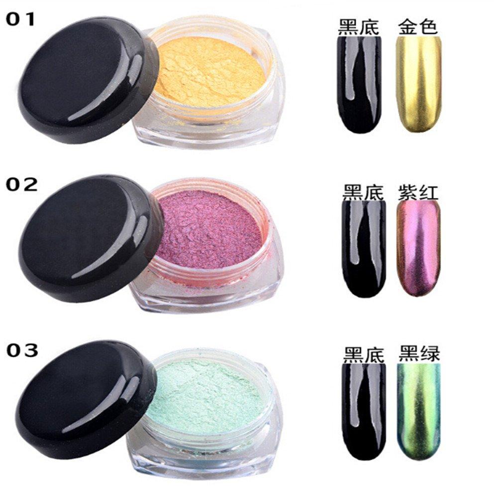 Amazon.com : SaiDeng 12 Colors Mirror Powder Pigment Nail Glitter ...