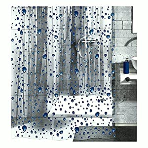 Clear Shower Curtain With Design. PEVA Shower Curtain Liner Clear  With Dark Blue Bubbles 70 9in x 78 7in Amazon com