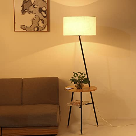 GUO - lámpara de pie de madera nórdica creativa salón simple ...