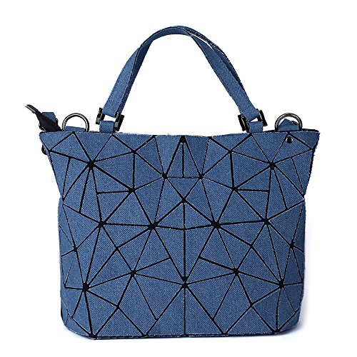 Harlermoon Geometric Luminous Holographic Purses and Handbags Flash Reflactive Tote for Women … (Jean Purse Blue)