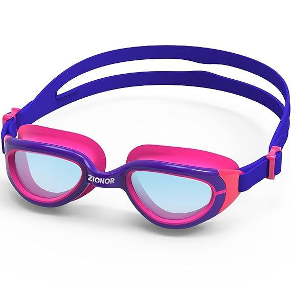 Gafas De Natación para Niños, ZIONOR K2 Gafas De Natación - Anti-Niebla con puentes de nariz reemplazables Protección UV Impermeable Las correas ajustables ...