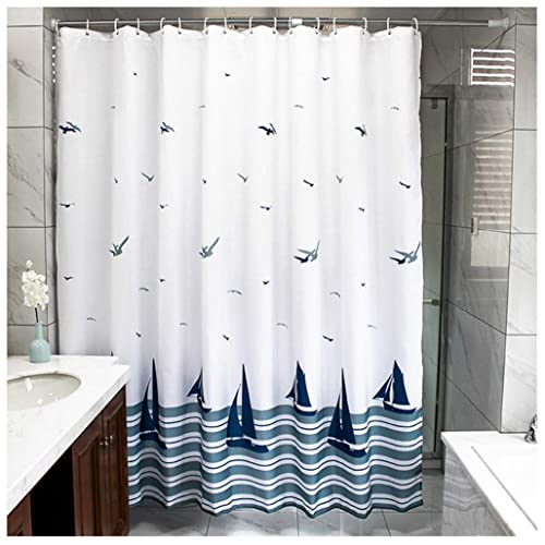 LikeYou Beach Theme Boat Print Shower Curtain No More Mildews And Waterproof White Navy
