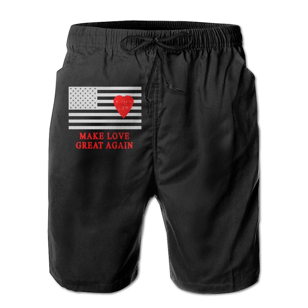Tailing Make Love Great Again Valentines Mens Summer Swimming Shorts Casual Beach Board Shorts