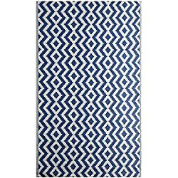 "iCustomRug Oudoor Rug Collection - Aztec Indigo Blue 7'10"" X11'6 Reversible Picnic Beach Area Rug, Perfect Patio, Camping, BBQ & More"